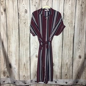 NWT Stella & Grace Maroon Stripe Button Down Dress